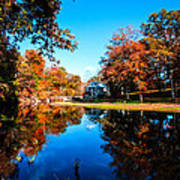 Old Mill House Pond In Autumn Fine Art Photograph Print With Vibrant Fall Colors Art Print