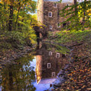 Old Mill Reflected In A Creek Art Print