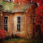 Old One Room School House In Autumn Art Print