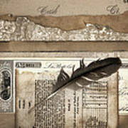 Old Papers And A Feather Art Print by Carol Leigh