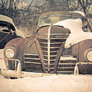 Old Plymouth Classic Car In The Snow Art Print