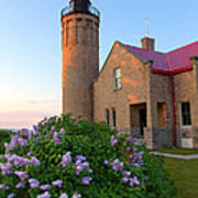 Old Point Mackinac Lighthouse And Lilacs Art Print