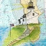 Old Pt Loma Lighthouse Ca Nautical Chart Map Art Cathy Peek Art Print