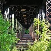 Old Railroad Car Bridge Art Print