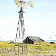 Old Ranch Windmill Art Print