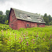 Old Red Barn In A Field - Rustic Landscapes Art Print