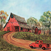 Old Red Barn Art Print