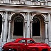 Old Red Car In Havana Art Print
