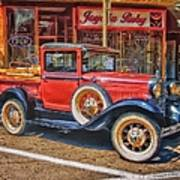 Old Red Pickup Truck Art Print