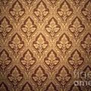 Old Retro Wallpaper In Sepia Art Print