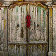 Old Ristra Door Print by Kurt Van Wagner