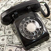 Old Rotary Phone On Money Background Art Print