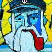 Old Sailor With Pipe Expressionist Portrait Art Print