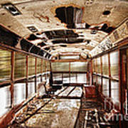 Old School Bus In Motion Hdr Art Print