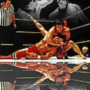 Old School Wrestling Headlock By Dean Ho On Don Muraco With Reflection Art Print