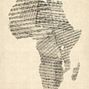 Old Sheet Music Map Of Africa Map Art Print by Michael Tompsett