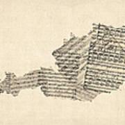 Old Sheet Music Map Of Austria Map Art Print