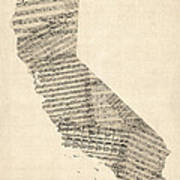 Old Sheet Music Map Of California Art Print