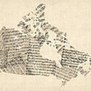 Old Sheet Music Map Of Canada Map Art Print