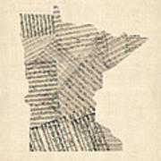 Old Sheet Music Map Of Minnesota Art Print by Michael Tompsett