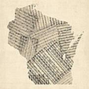 Old Sheet Music Map Of Wisconsin Art Print