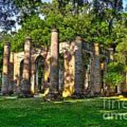 Old Sheldon Church Ruins In South Carolina Print by Reid Callaway