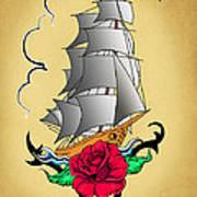 Old Ship Tattoo  Art Print