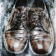 Old Shoes Frozen In Ice Art Print