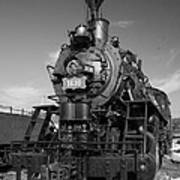 Old Steam Engine Black And White Art Print