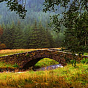 Old Stone Bridge Over Kinglas River. Scotland Art Print