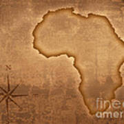 Old Style Africa Map Art Print by Johan Swanepoel