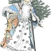 Old Time Santa With Violin2 Art Print