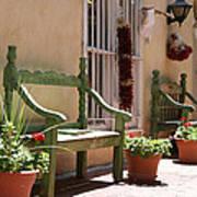 Old Town Albuquerque Green Bench Art Print