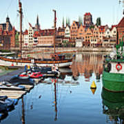 Old Town Of Gdansk Skyline And Marina Art Print