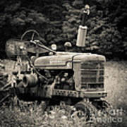Old Tractor Black And White Square Art Print