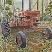Old Tractor Vintage Art Art Print