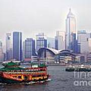 Old Traditional Chinese Junk In Front Of Hong Kong Skyline Art Print by Lars Ruecker