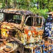 Old Trucks And Old Bicycles Art Print