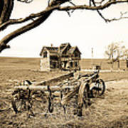 Old Wagon And Homestead II Art Print by Athena Mckinzie