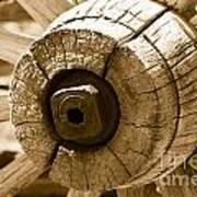 Old Wagon Wheel - Sepia Rendering Art Print