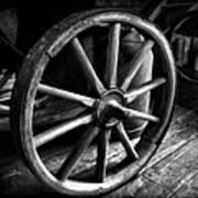 Old Wagon Wheel Black And White Art Print