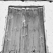 old weathered brown wooden door double window opening on abandoned house with cracked stucco yellow walls in Tacoronte Tenerife Canary Islands Spain Art Print