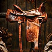 Old Western Saddle Art Print by Olivier Le Queinec