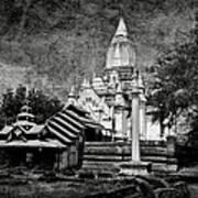 Old Whitewashed Lemyethna Temple Bw Art Print