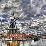 Old Windmill On The Shore Print by Maciej Froncisz