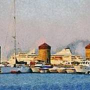 Old Windmills And Cruise Ship Art Print