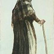 Old Woman Seen From Behind Art Print