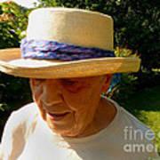 Old Woman Wearing Straw Hat Art Print
