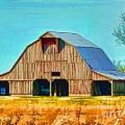 Old Wood Barn  Digital Paint Art Print