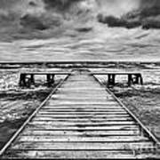 Old Wooden Jetty During Storm On The Sea Art Print